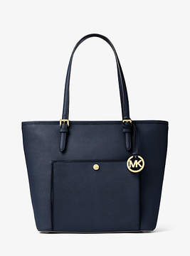 Michael Kors Jet Set Travel Large Leather Tote - BLUE - STYLE