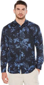 Cubavera 100% Linen Midnight Water Color Leaf Printed Shirt