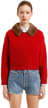 N°21 Needle Punched Knit Sweater W/ Mink Fur