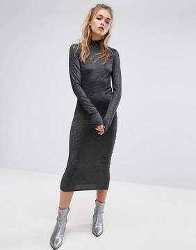 Cheap Monday High Neck Metallic Dress with Ruching