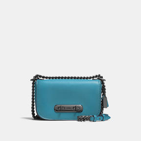 COACH Coach Swagger Shoulder Bag 20 In Burnished Glovetanned Leather - DARK GUNMETAL/OCEAN - STYLE