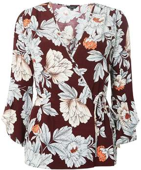Dorothy Perkins Wine Floral Print Wrap Blouse