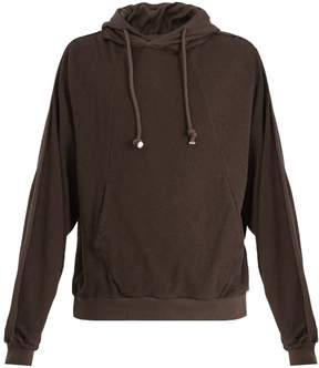 Maison Margiela Contrast fabric cotton-blend hooded sweatshirt