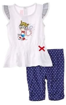 Chicco Girls' 2pc White & Blue Dress & Legging Set.