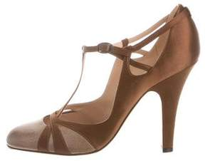 Nina Ricci Satin & Leather T-Strap Pumps
