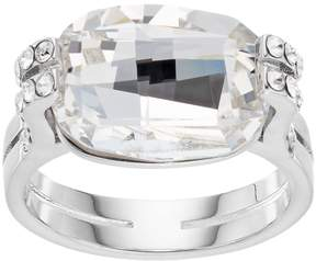 Brilliance+ Brilliance Silver Plated Cushion Ring with Swarovski Crystals