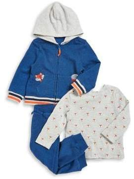 Little Me Baby Boy's Three-Piece Cotton Fox Hoodie, Tee and Jogger Pants Set