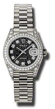 Rolex Lady-Datejust 26 Black Jubilee Dial 18K White Gold President Automatic Ladies Watch