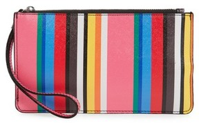 Nordstrom Stripe Faux Leather Wristlet - Blue