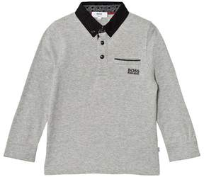 BOSS Grey and Black Long-Sleeved Polo