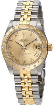 Rolex Datejust 31 Champagne Dial Ladies Stainless Steel and 18kt Yellow Gold Jubilee Watch