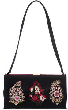 Oscar de la Renta Embroidered Satin Evening Bag