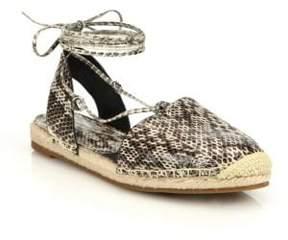 Michael Kors Tiffany Snakeskin Lace-Up Espadrille Flats