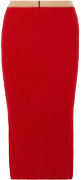 Calvin Klein Ribbed Wool And Cashmere-blend Midi Skirt - Red