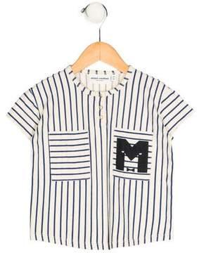 Mini Rodini Boys' Striped Graphic Print Shirt