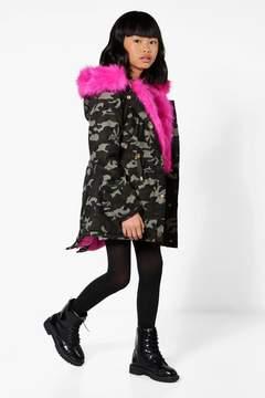 boohoo Girls Camo Padded Faux Fur Parka