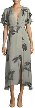 Halston Flutter-Sleeve Printed Silk Faux-Wrap Dress