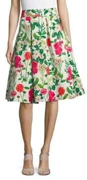 Eliza J Floral-Print Midi Skirt