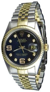Rolex Datejust Two Tone 18K/Steel Fluted Bezel Black Dial Diamond Mens 36mm Watch