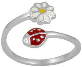 Ice Silver Enamel Ladybug and Daisy Flower Adjustable Girls Ring (Size 3-7)