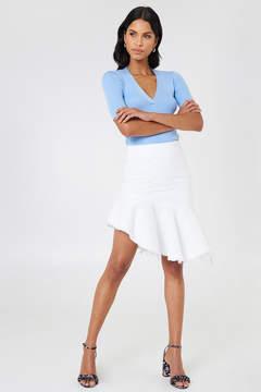 NA-KD Na Kd Raw Hem Midi Denim Skirt