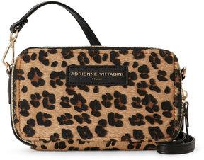 adrienne vittadini Black & Leopard Charging Crossbody Wallet