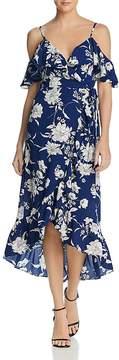 Aqua Floral Cold-Shoulder Ruffle Wrap Dress - 100% Exclusive