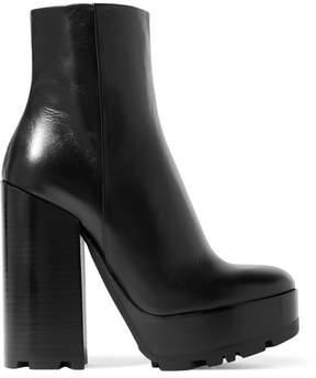 Jil Sander Leather Platform Ankle Boots - Black