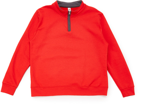 Fruit of the Loom Fiery Red & Charcoal Quarter-Zip Pullover