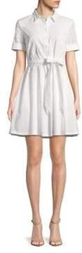 Isaac Mizrahi IMNYC Poplin and Eyelet Fit-and-Flare Shirt Dress