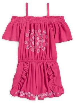 Bebe Girl's Embroidered Chiffon Romper
