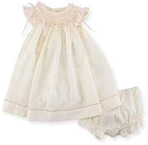 Luli & Me Smocked Ribbon Dress w/ Ruffle Bloomers, Size Newborn-9M