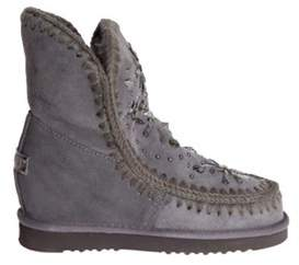 Mou Women's Grey Leather Ankle Boots.