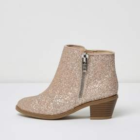River Island Girls pink glitter ankle boots