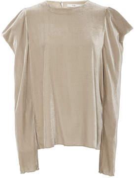 Tibi Velvet Draped Sleeve Top