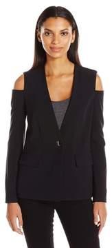 Nine West Cold Shoulder Long Sleeve Blazer Jacket