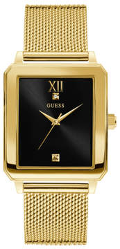 GUESS Gold-Tone and Black Rectangular Watch
