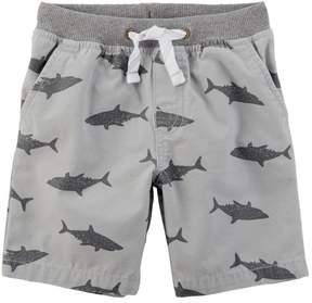 Carter's Little Boys Shark Print Pull-On Canvas Shorts