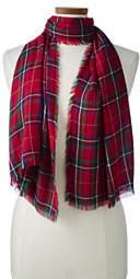 Lands' End Women's Holiday Plaid Scarf-Classic Navy Snowflake