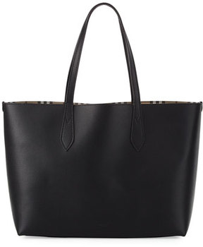 Burberry Lavenby Medium Reversible Check & Leather Tote Bag, Black - BLACK - STYLE