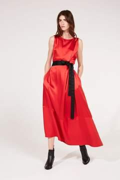 Amanda Wakeley   Red Crepe Back Satin Midi Dress   Xl   Red