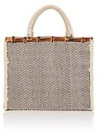 Barneys New York Women's Chevron-Print Cotton-Blend Tote Bag-Neutral
