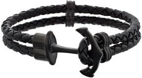 Lynx Men's Braided Black Leather Anchor Bracelet