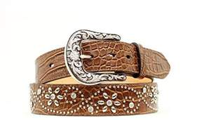 Ariat A1510602-M 1.5 in. Womens Croc Print Floral Studded Leather Belt, Brown - Medium