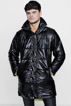 boohoo Black High Shine Oversized Quilted Jacket