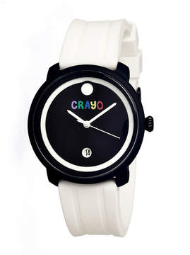 Crayo Unisex Fresh White Rubber-Strap Watch With Date Cracr0304