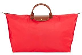 Longchamp Two-tone Zippered Handbag - BRIGHT RED - STYLE