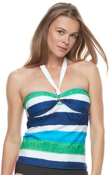 Chaps Women's Striped Halterkini Top