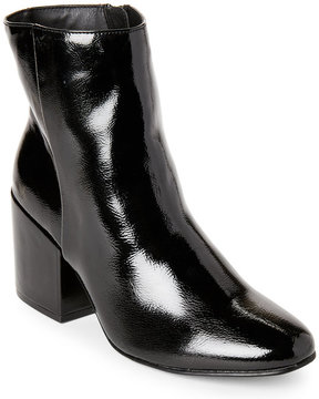 Madden-Girl Black Arcade Patent Block Heel Booties