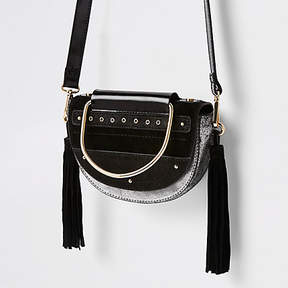River Island Black leather half moon cross body bag
